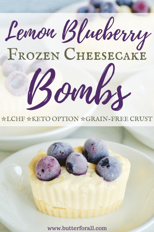A frozen low-carb cheesecake on a plate with text overlay.