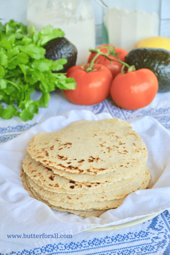 A big, hot stack of freshly made sourdough corn tortillas.