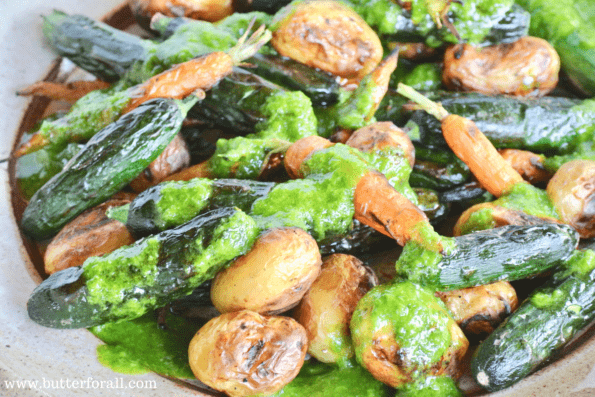 Delicious Garlic Chive Oil Dressing atop warm fire grilled baby vegetables. A perfect summer side dish.