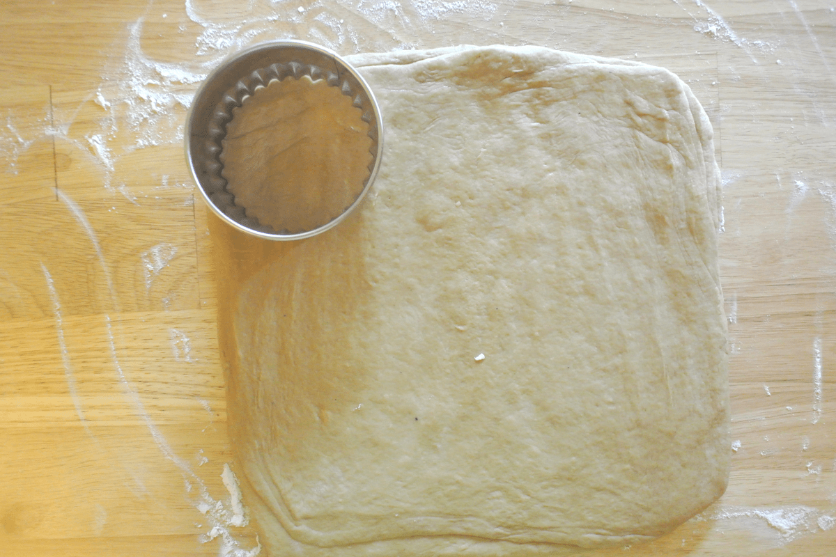 Cutting the dough into shortcakes.