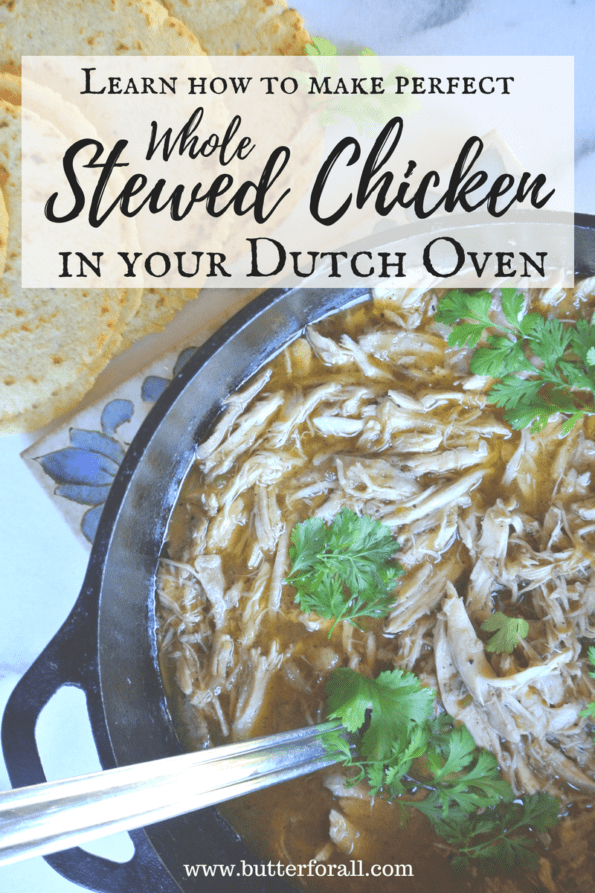 A bowl of stewed chicken with text overlay.