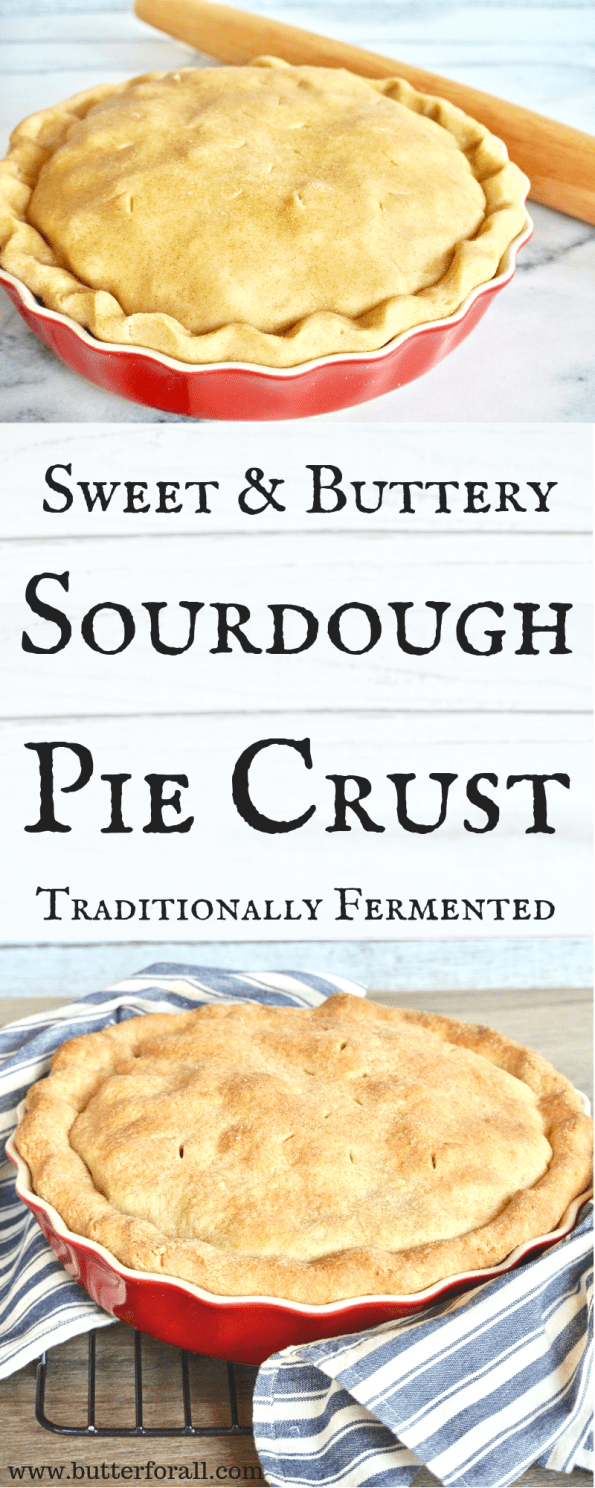 A properly prepared, Sweet And Buttery Sourdough Pie Crust made by traditionally fermenting the raw wheat flour with sourdough starter.
