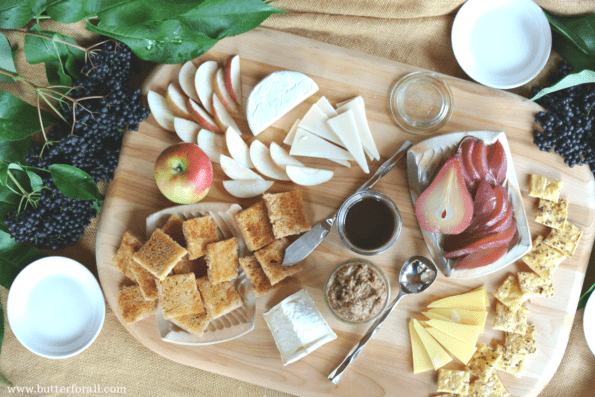 A beautiful elderberry inspired cheese plate.