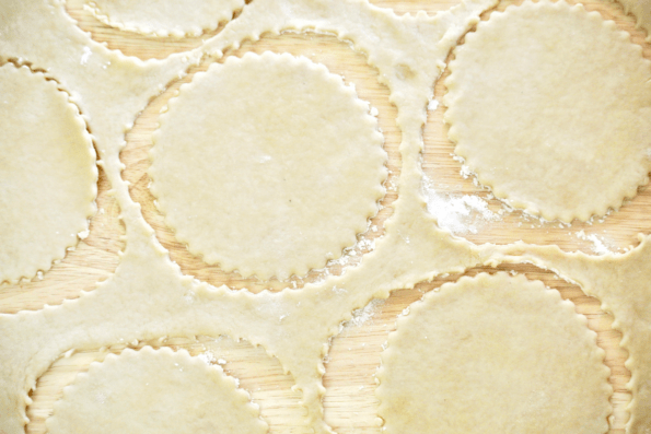 Sourdough Pie Crust is rolled and cut.