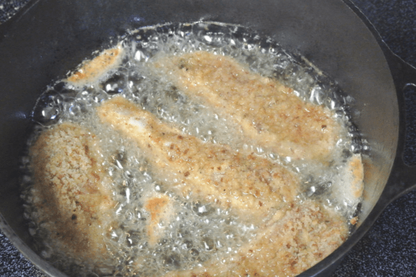 The chicken strips are fried in avocado oil.