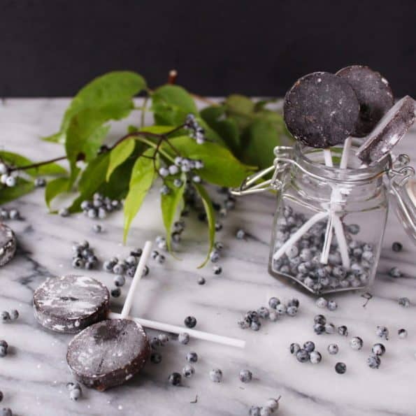 Sweet and cooling elderberry lollipops perfect for sore throats!