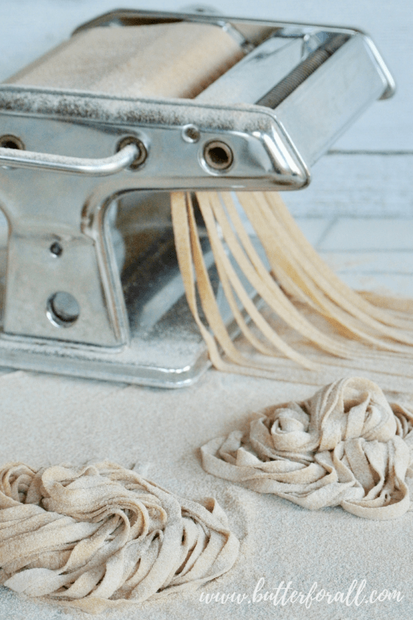 Real Homemade Whole Wheat Sourdough Pasta is made with properly prepared grains and using traditional techniques.