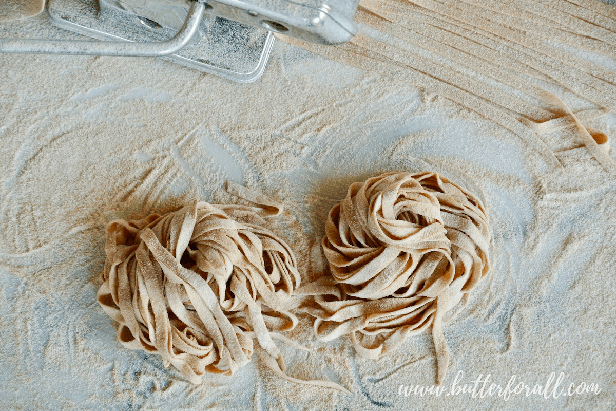 This whole wheat sourdough pasta is made with properly prepared grains and is so easy to work with. Cut the pasta by hand or with a pasta machine.