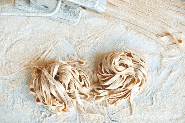 Uncooked sourdough noodles.