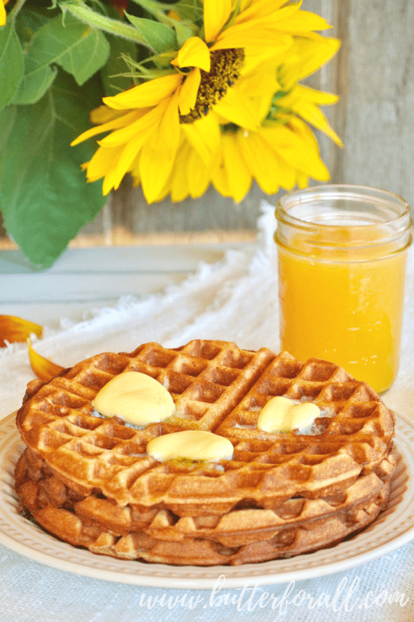 The perfect nourishing breakfast is a stack of these sourdough and sprouted whole wheat waffles with extra butter!