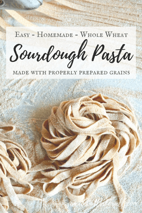 Uncooked sourdough noodles with text overlay.