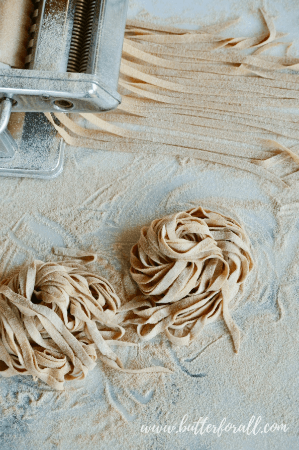 Two servings of properly prepared Whole Wheat Sourdough Pasta on the worktop.