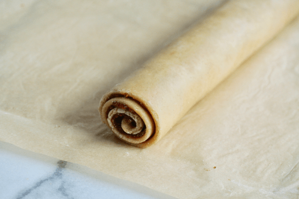 A sealed cylinder of Cranberry and Sourdough Pastry.