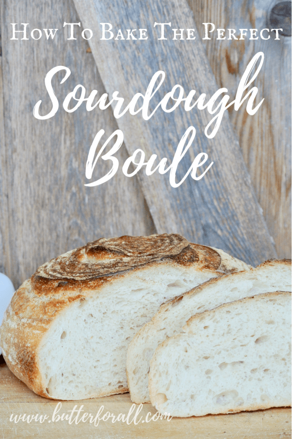 A sourdough loaf with text overlay.