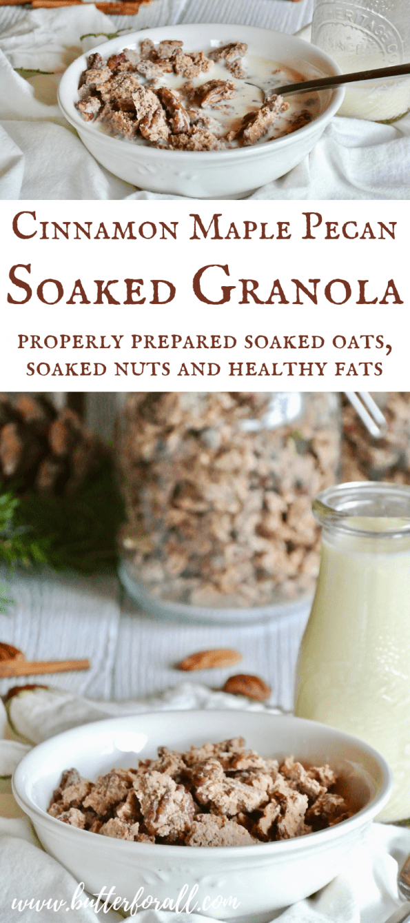 This crunchy, slightly sweet granola is made with properly prepared soaked oat and nuts with the addition of healthy fats from coconut butter. If you love real food but still want to eat a breakfast cereal, this recipe is for you! #realfood #nourishingtraditions #soakedgrains #wisetraditions #healthyfat #breakfast #cereal