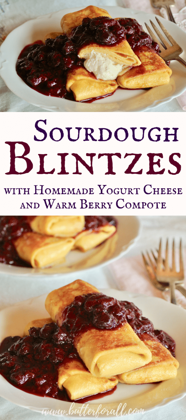 A collage of sourdough blintzes with text overlay.