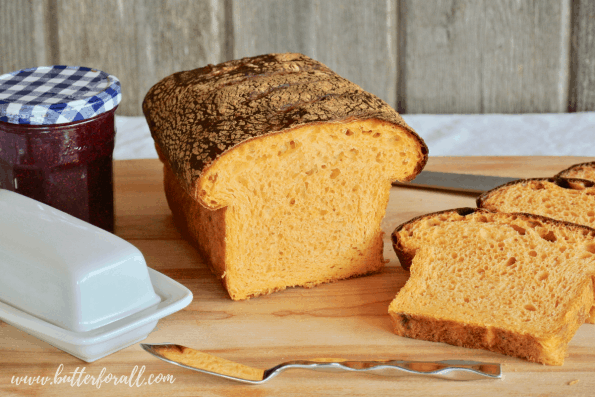 A fresh loaf of Sweet Potato Sourdough perfect for toasting and eating with butter and jam.