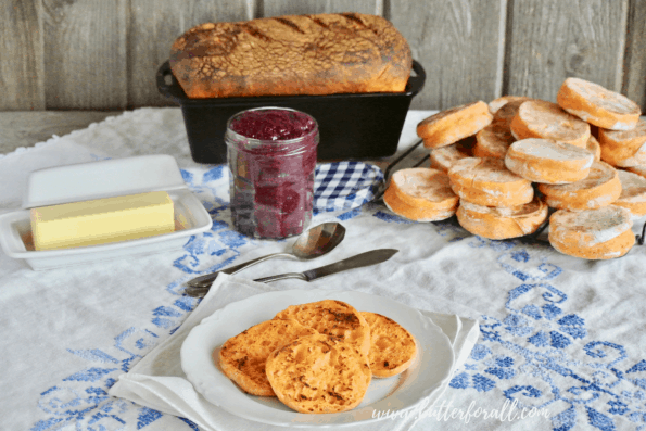 The ultimate breakfast buffet featuring a fresh baked loaf of sweet potato sourdough and soft a chewy sweet potato English muffins!