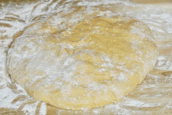 The soft a sticky English muffin dough.