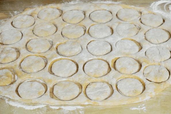 Cutting the English muffins.