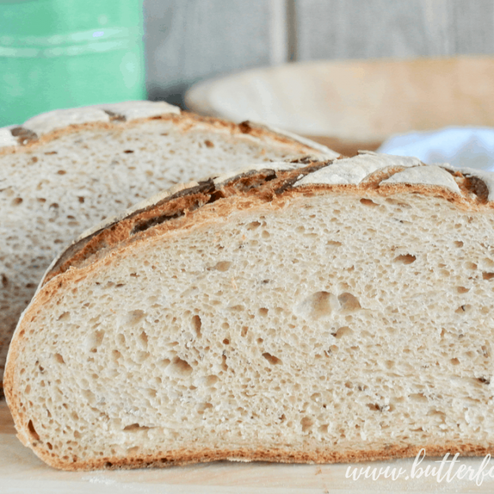 A soft a fluffy crumb makes this Light Rye Sourdough a wonderful bread for toasting or sandwiches!