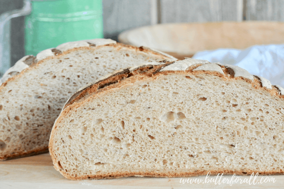 Light Rye Sourdough Boule with Caraway Seeds