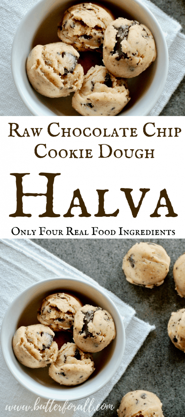 These irresistible halva bites are made with raw tahini. raw honey, raw cacao and a little salt. They are all the please of cookie dough with our any of the guilt! #cookiedough #realfood #raw #refinedsugarfree #healthysnacking #icecream #toppings