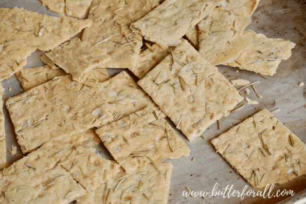 A pan of sourdough discard crackers fresh from the oven.