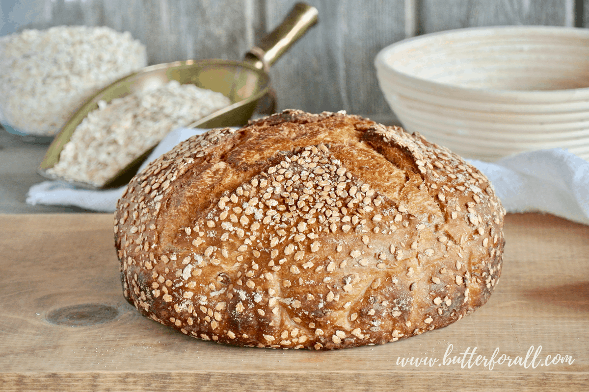 A perfect loaf of sweet and soft Honey Oat Sourdough awaits being cut and devoured.