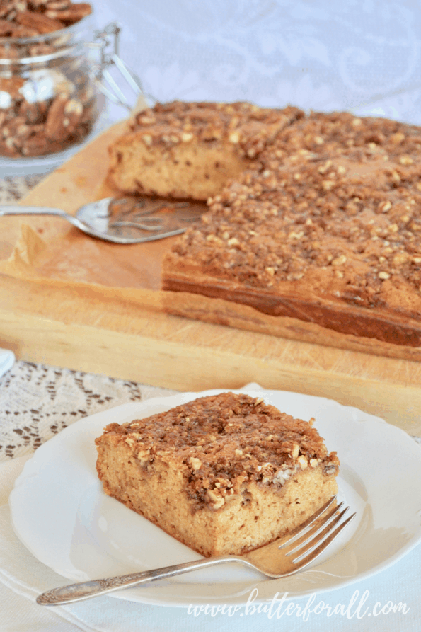 I slice of praline topped coffee cake makes a fine tread with coffee or tea!
