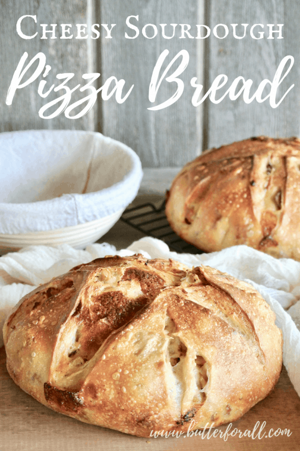 Cheesy sourdough pizza bread loaves with text overlay.