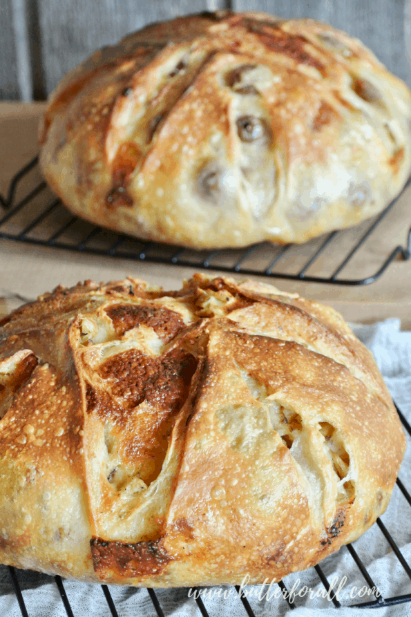 A freshly baked cheesy sourdough pizza bread loaf.