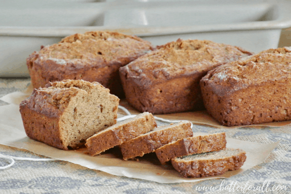 4 Perfect mini loaves of fresh baked sprouted wheat banana bread.