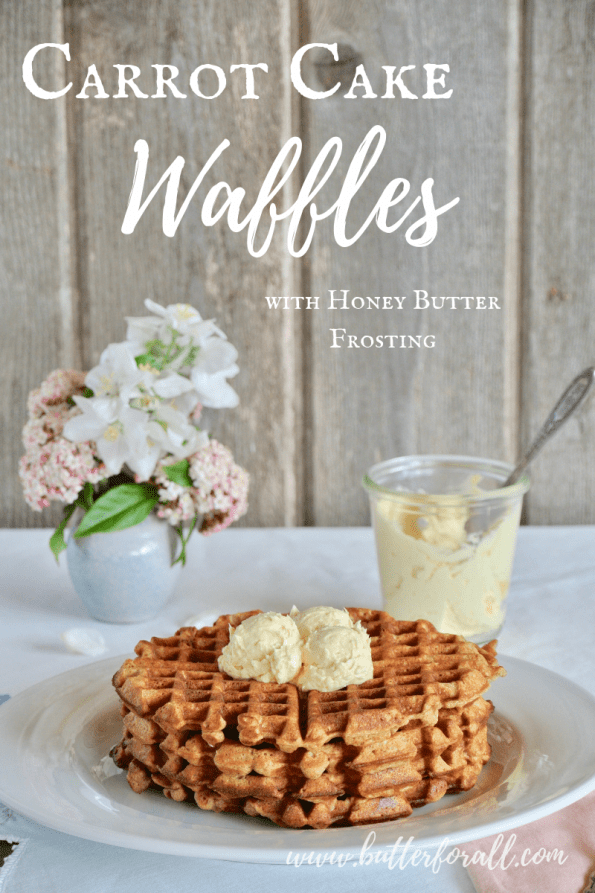 A crispy, sweet, and spicy carrot cake waffle made with sprouted wheat, organic carrots and unrefined sweetener! #realfood #brunch #spring #cake #sproutedgrain