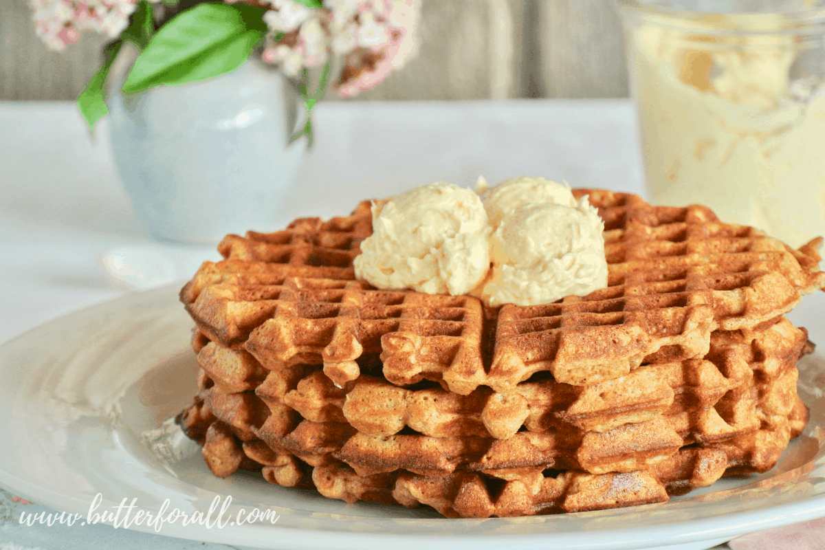 Carrot Cake Waffles with Honey Butter Frosting – Made with Sprouted Whole Wheat