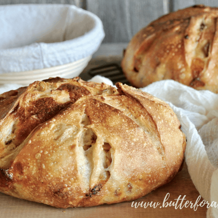 Two beautiful big loaves of Cheesy Sourdough Pizza Bread!