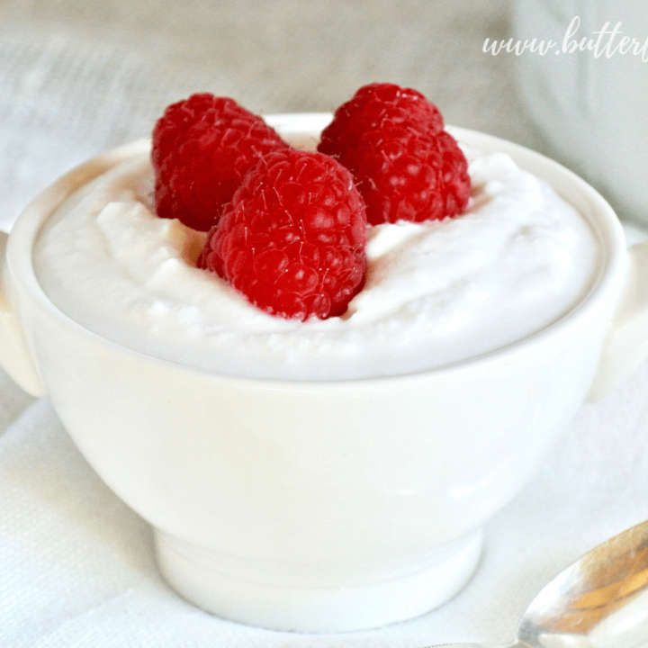 A bowl full of rich and creamy coconut yogurt is a great source of gut friendly probiotics and healthy fats!