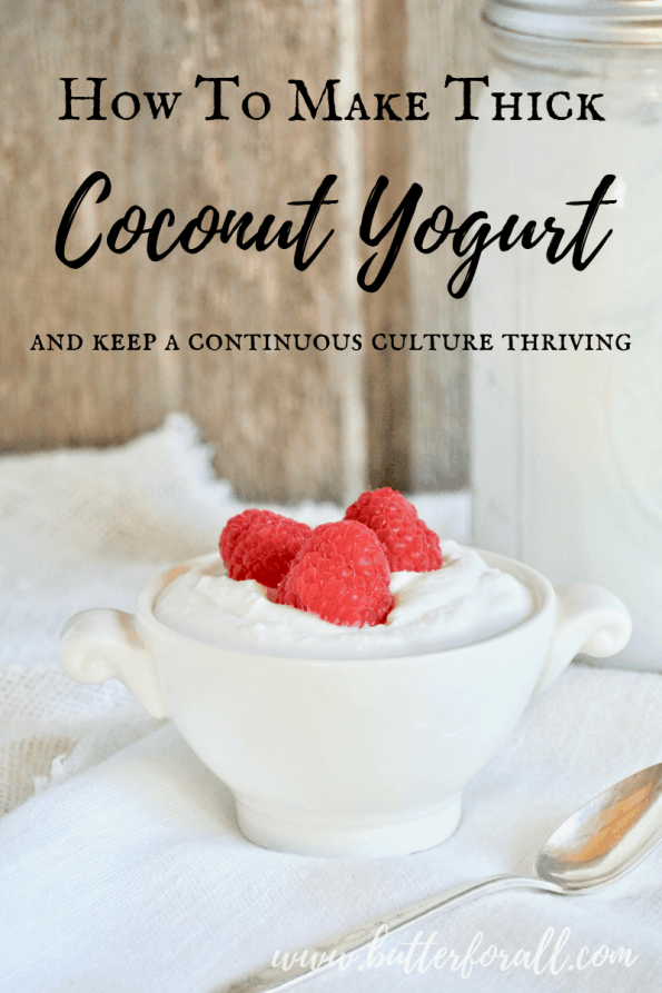 Learn how to easily make a probiotic rich, thick and creamy Coconut Yogurt and keep a continuous culture going so you never run out! #realfood #healthyfats #fermented #probiotic #dairyfree #yogurt #cultured #coconut