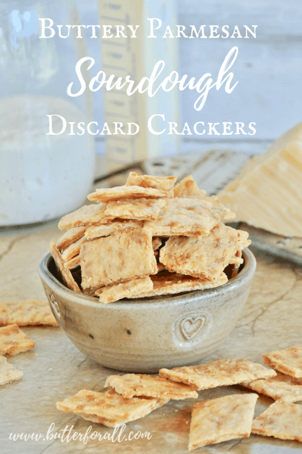 A bowl of the butteriest, flakiest, crunchiest sourdough cheese crackers made with fully fermented sourdough starter, real butter and real Parmesan cheese. #starter #sourdough #wildyeast #fermented #realfood #wisetraditions #crackers #cheesecrackers #healthysnacks #easy #crunchysnacks