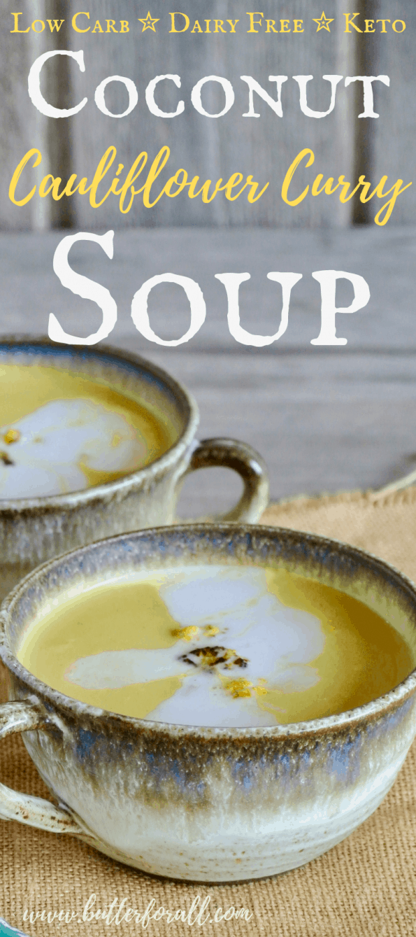 Bowls of coconut curry soup with text overlay.