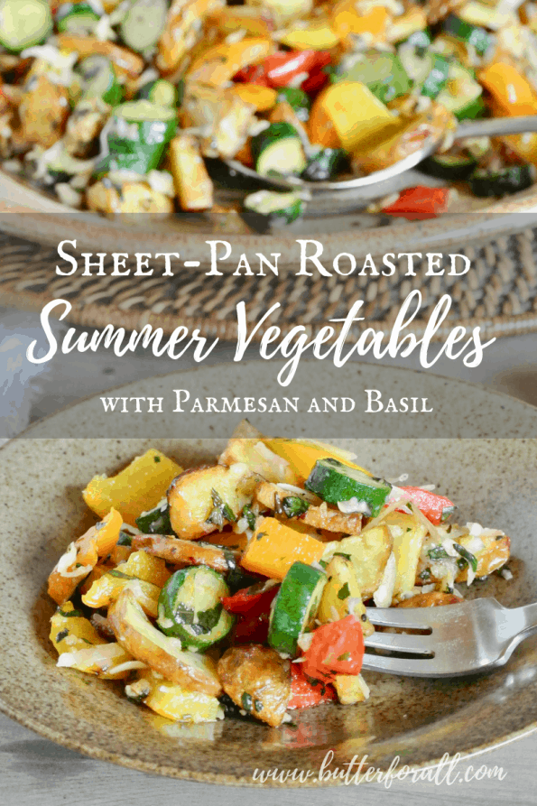 A plate of roasted summer vegetables with text overlay.