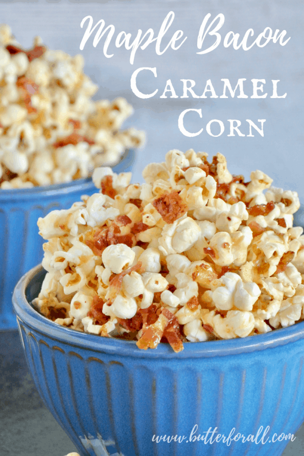 You won't be able to put down the bowl after you try a bite of this amazingly simple, sweet and salty Maple Bacon Caramel Corn. Made with real maple syrup, butter, and bacon it is sure to please all your senses! #realfood #popcorn #coconutoil #bacon #maple #caramel #sweetandsalty #sweetandsavory #baconforlife #healthyfats #moviesnacks