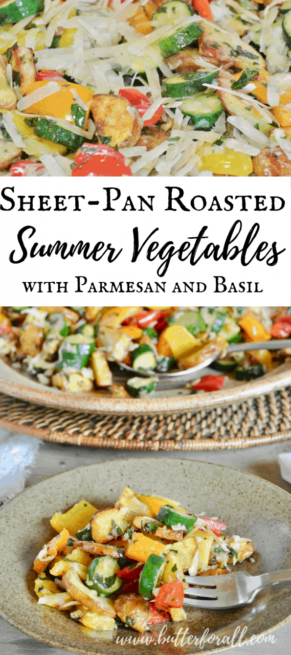 This easy summer side dish can be made on one pan in the oven! Pick all your favorite summer vegetables and roast them to perfection before adding fresh melty Parmesan cheese and herbaceous basil. #realfood #onepan #easy #summer #potluck #potatoes #squash #peppers #herbs #parmesan #basil #sidedish #entertaining