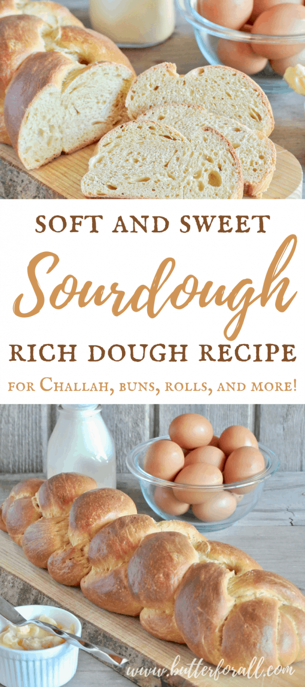 A collage of sourdough rich dough loaves with text overlay.
