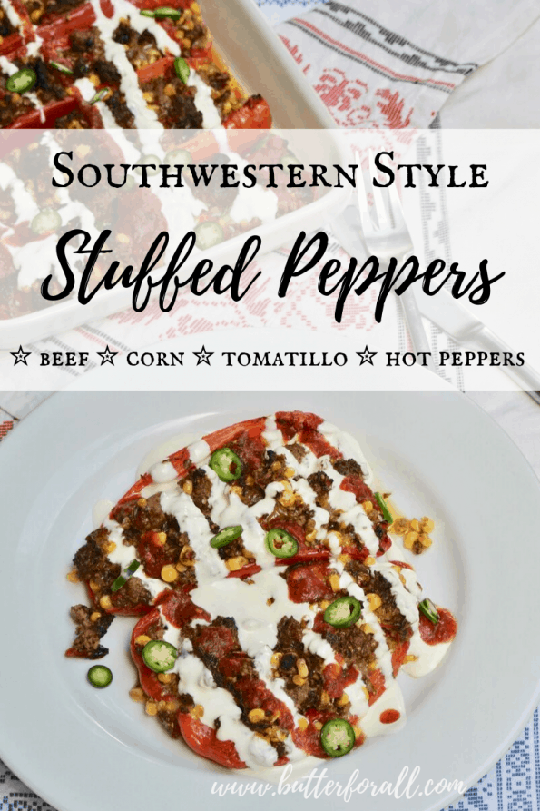 These beautiful stuffed peppers are the perfect way to celebrate the harvest season and all the beautiful late summer, early fall produce. Big juicy peppers are stuffed to the brim with ground beef, fresh sweet corn, tomatillos, chili peppers and melty jack cheese! #grainfree #dinner #harvest #summer #peppers #nourishing #farmtotable #realfood #southwestern #newmexico #wisetraditions