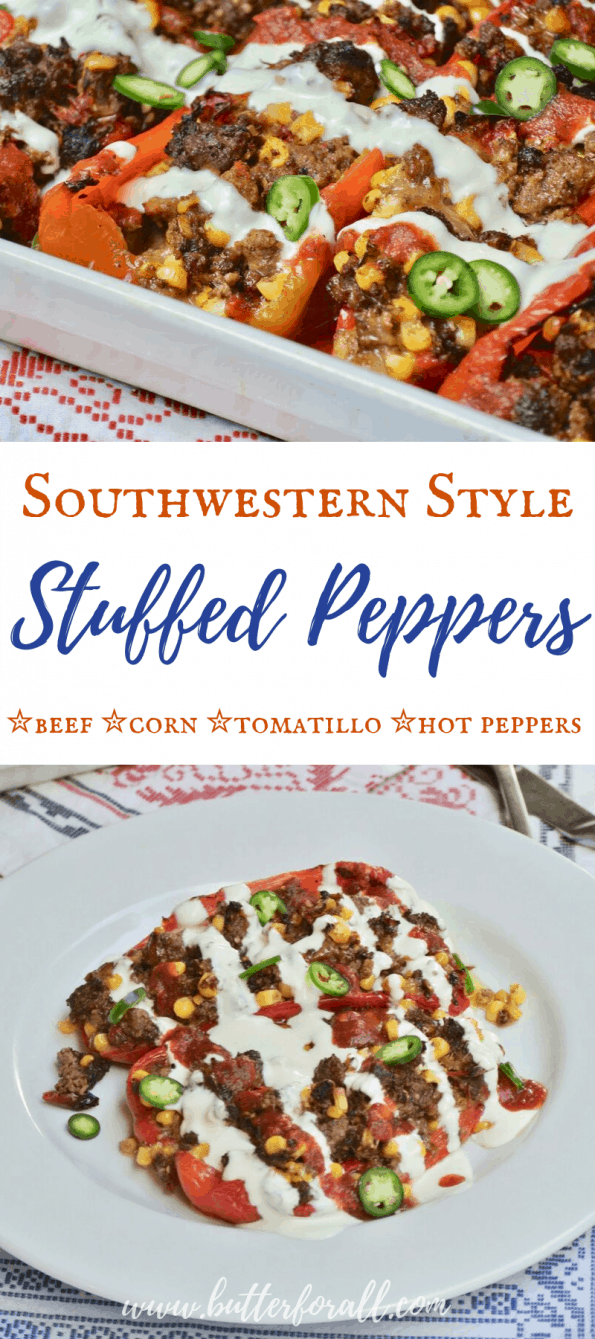 A collage of baked stuffed peppers with text overlay.