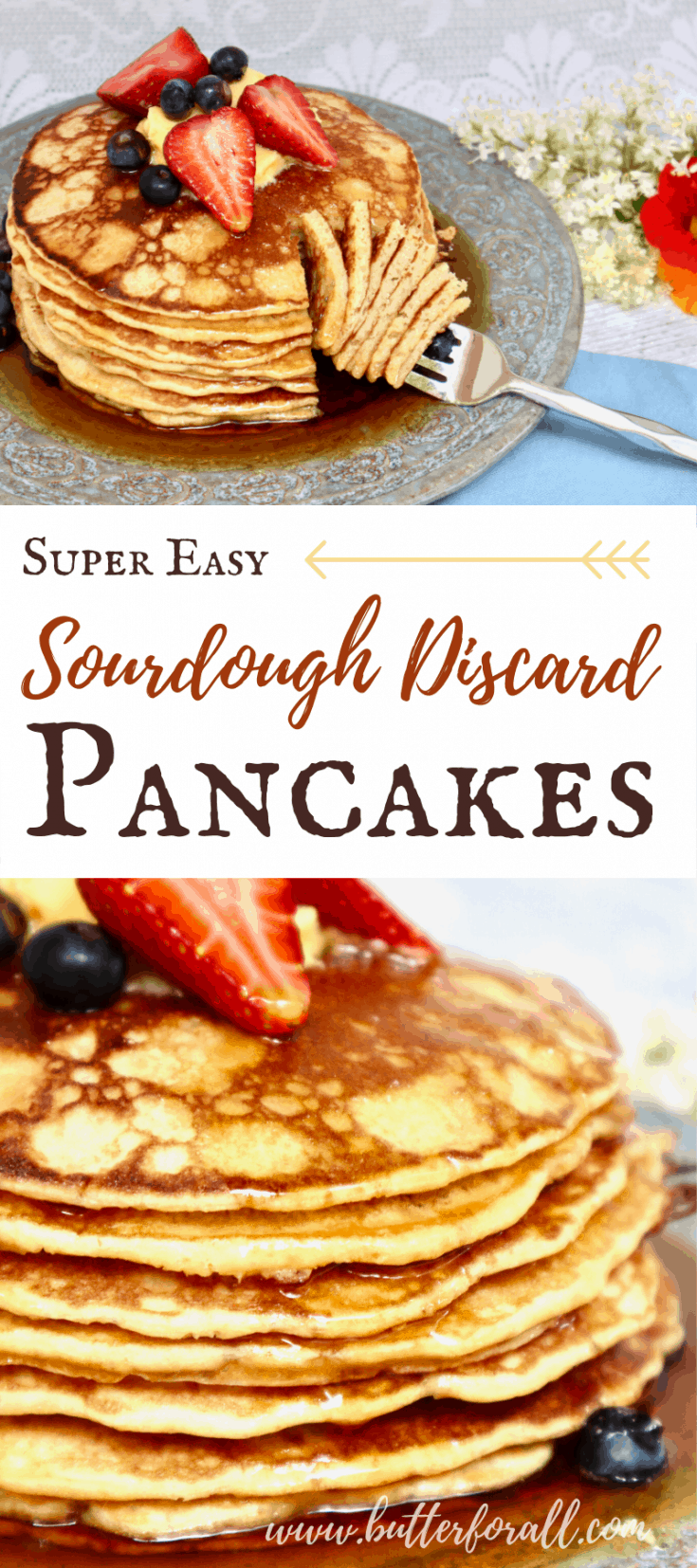A collage of stacks of sourdough pancakes with text overlay.