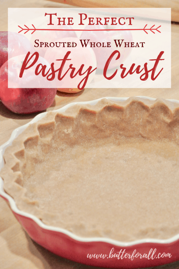 A pastry crust in a pie dish with text overlay.