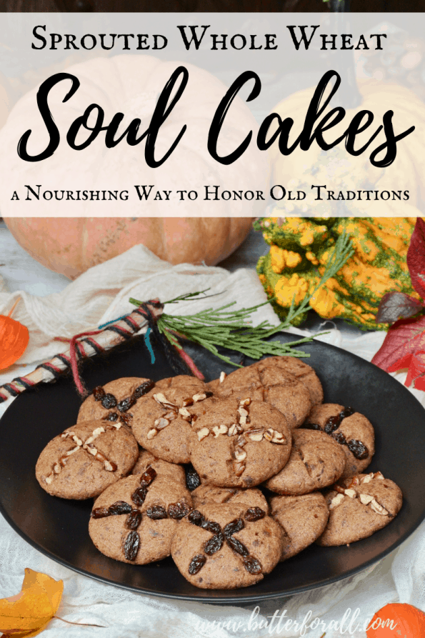A plate of soul cakes with text overlay.