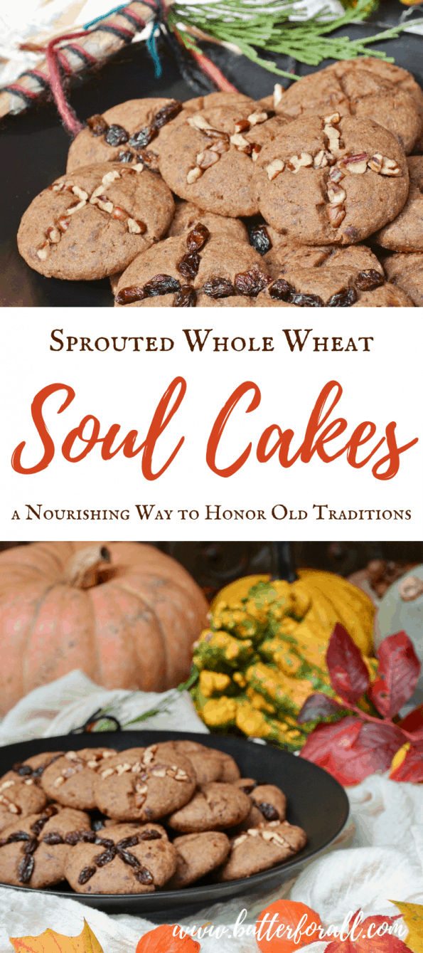 These soft shortbread like cakes are richly spiced, sweetened naturally with dates, and made with whole sprouted grains. With these Soul Cakes the spirits and mortals alike will be delighted and appeased durning a traditional Samhain feast! #samhain #pagan #celtic #lore #traditions #realfood #halloween #allsouls #harvest #festival #sabbat #butter #refinedsugarfree #cookies #cakes #spice #soulcakes
